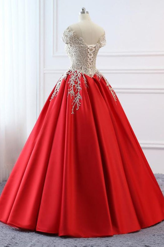 Modest Red Cap Sleeves Ball Gowns Lace Satin Prom Dresses Evening Dresses M856