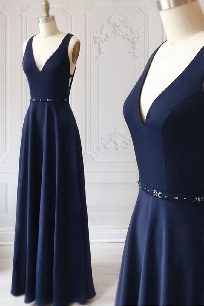 Navy Blue V-neck Floor Length Simple Cheap Cute Long Prom Dresses M858