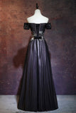Beauty Off The Shoulder Floor Length Lace Up Long Black Prom Dresses With Appliques M860