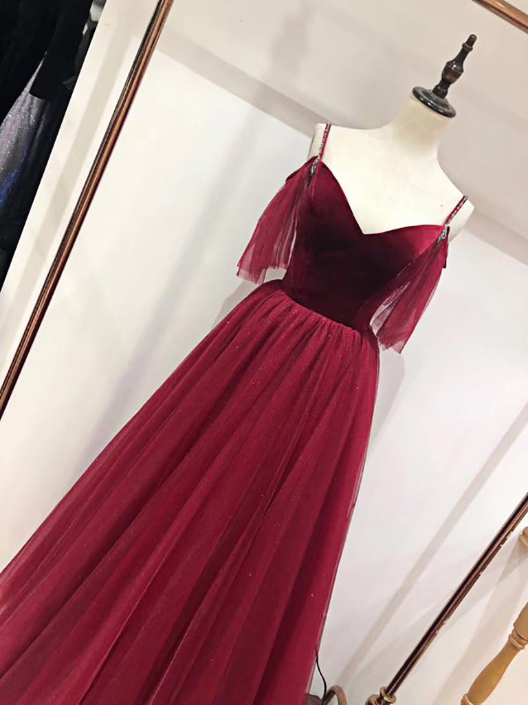 Spaghetti Straps Flowy Burgundy Long A-line Simple Princess Prom Dresses M861