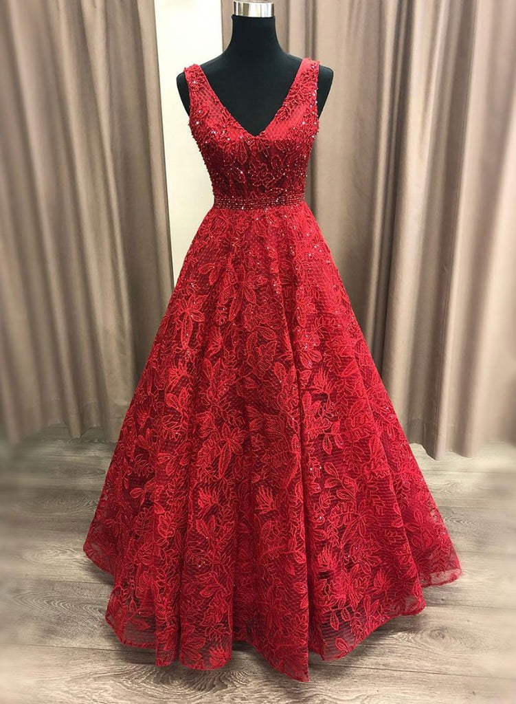 Pretty Burgundy Beading V-neck Red Lace Long Prom Dresses Prom Gowns M864