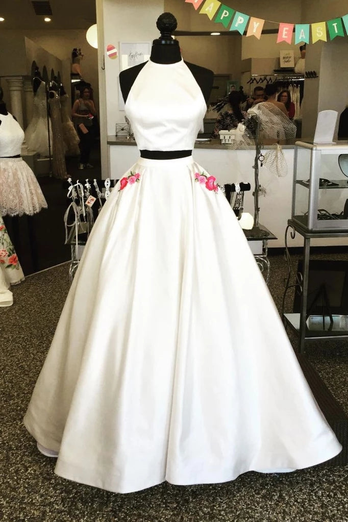 2 Pieces Elegant Ivory Satin Long A-line Prom Dresses With Pockets M865
