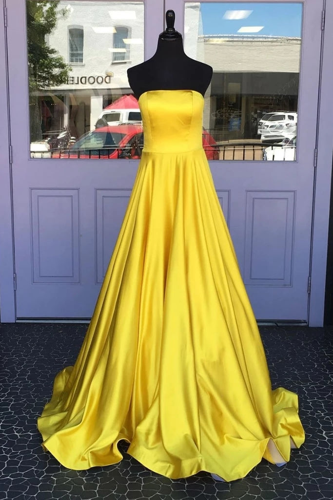 Simple Cheap Long A-line Yellow Strapless Prom Dresses For Teens M866