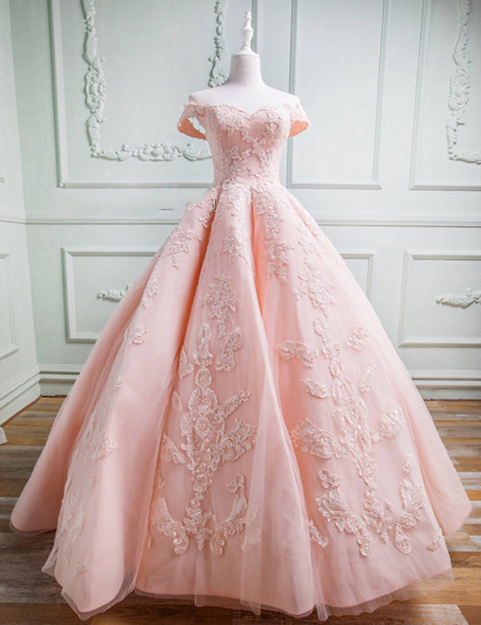 Gorgeous Ball Gown Off The Shoulder Pink Prom Dresses With Appliques M869