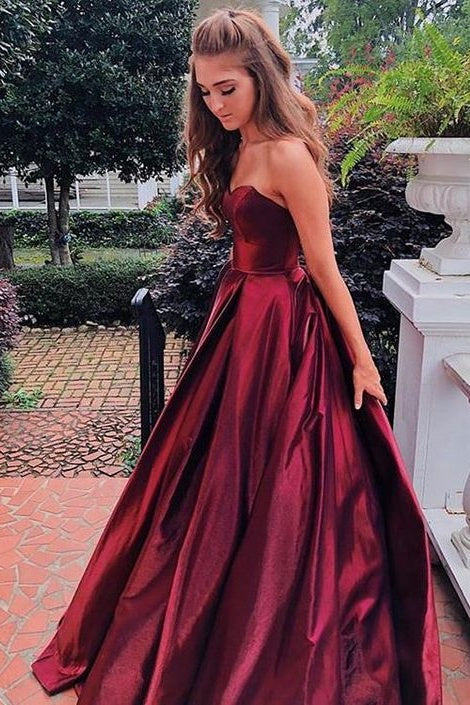 A-line Strapless Long Backless Simple Cheap Prom Dresses Party Dresses M874