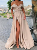 Off The Shoulder Satin Long Front Split Prom Dresses Evening Dresses M875