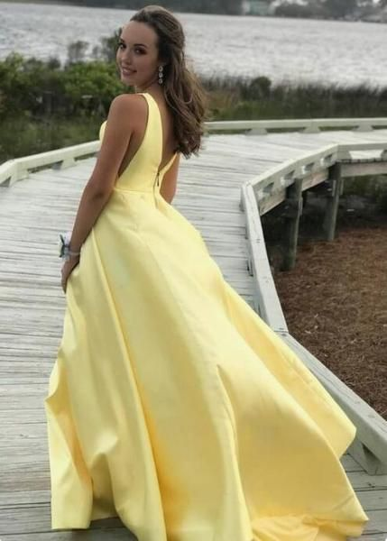 V-neck A-line Yellow Satin Long Prom Dresses Zipper Back Party Dresses M876