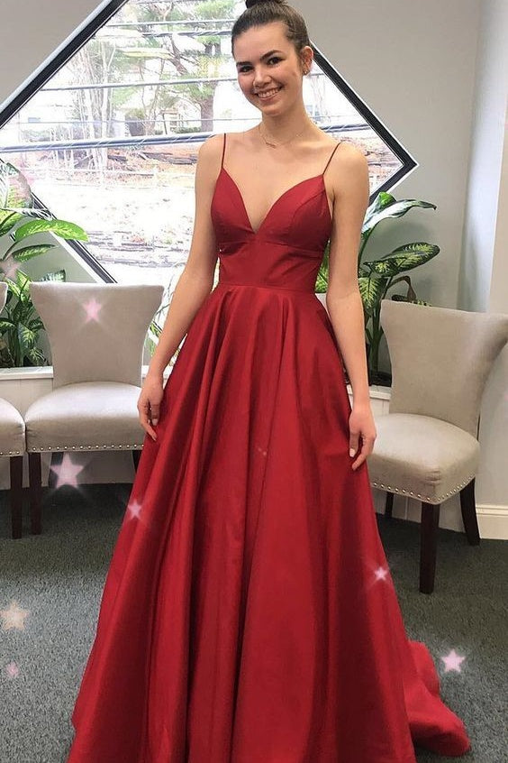 Spaghetti Straps A-line Burgundy Prom Dresses Simple Cheap Prom Gowns M877