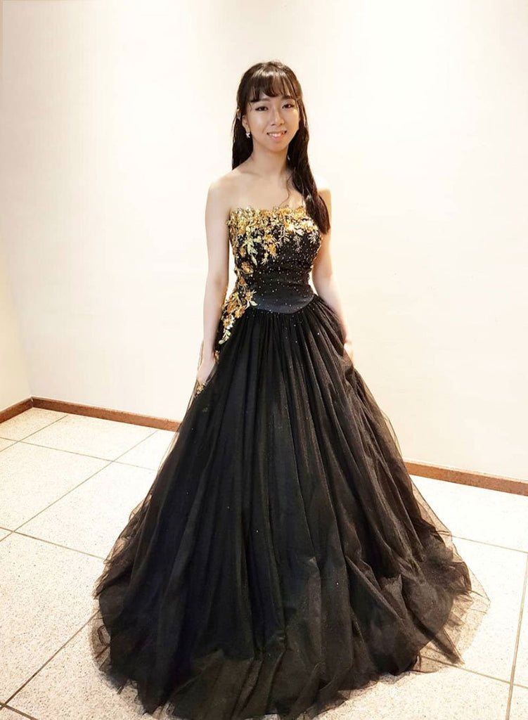 Unqiue Black Strapless Lace Up Beading Tulle Long Formal Prom Dresses M878