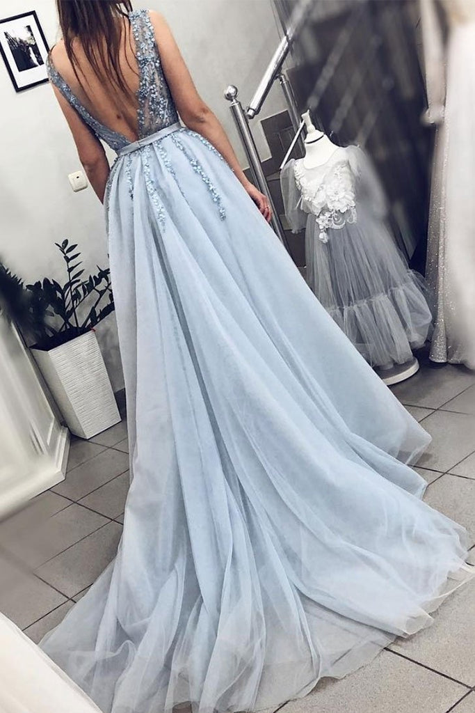 Pretty Beading Lace V-neck Open Back Charming Princess Prom Dresses M879