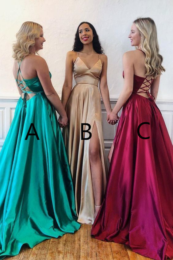 Cheap Spaghetti Straps A-line Backless V-neck Simple Style Prom Dresses M883