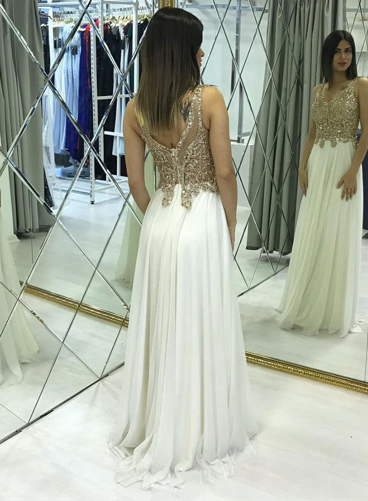 Pretty Ivory Chiffon Long Beading A-line Prom Dresses For Teens M886