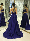 Spaghetti Straps Backless Simple A-line Long Blue Party Prom Dresses For Teens M890