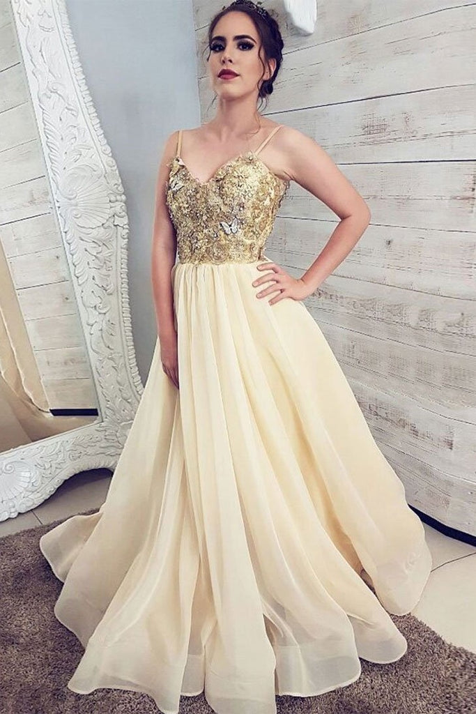Unique Spaghetti Straps Beautiful A-line Prom Dresses Pretty Long Party Gowns M892