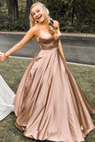 Pretty Spaghetti Straps Long A-line Prom Dresses V-neck Simple Cheap Prom Gowns M893