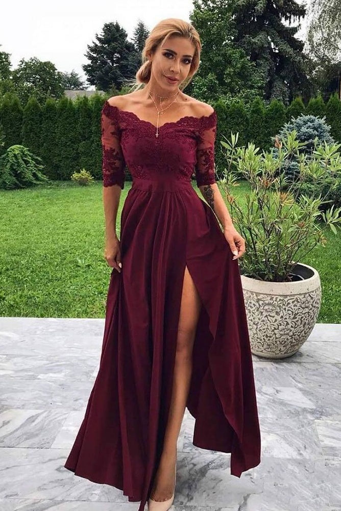 Modest Front Split Simple A-line Lace Prom Dresses Women Dresses Party Porm Gowns M894