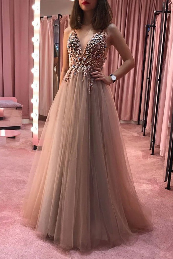 Unique V-neck Flowy Long A-line Tulle Prom Dresses For Teens Fashion Dresses M898