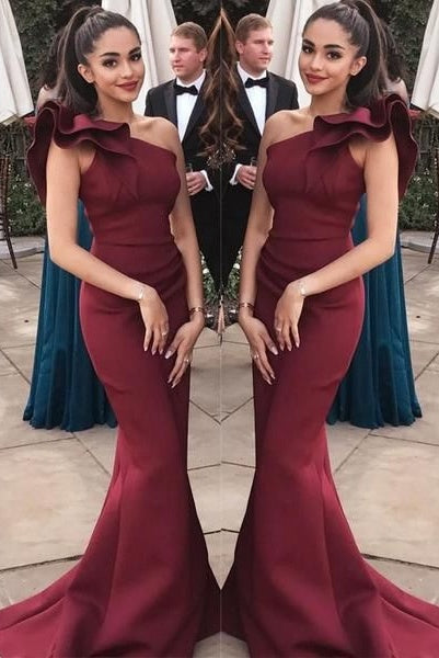 One Shoulder Sheath Mermaid Long Prom Dresses Simple Prom Gowns M899