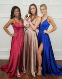 V-neck Long Simple Prom Dresses Cheap Prom Gowns Party Dresses M964