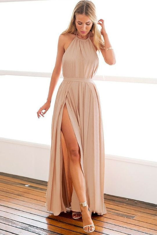 Casual Long Halter Backless Floor Length Simple Elegant Prom Dresses Party Gowns M903