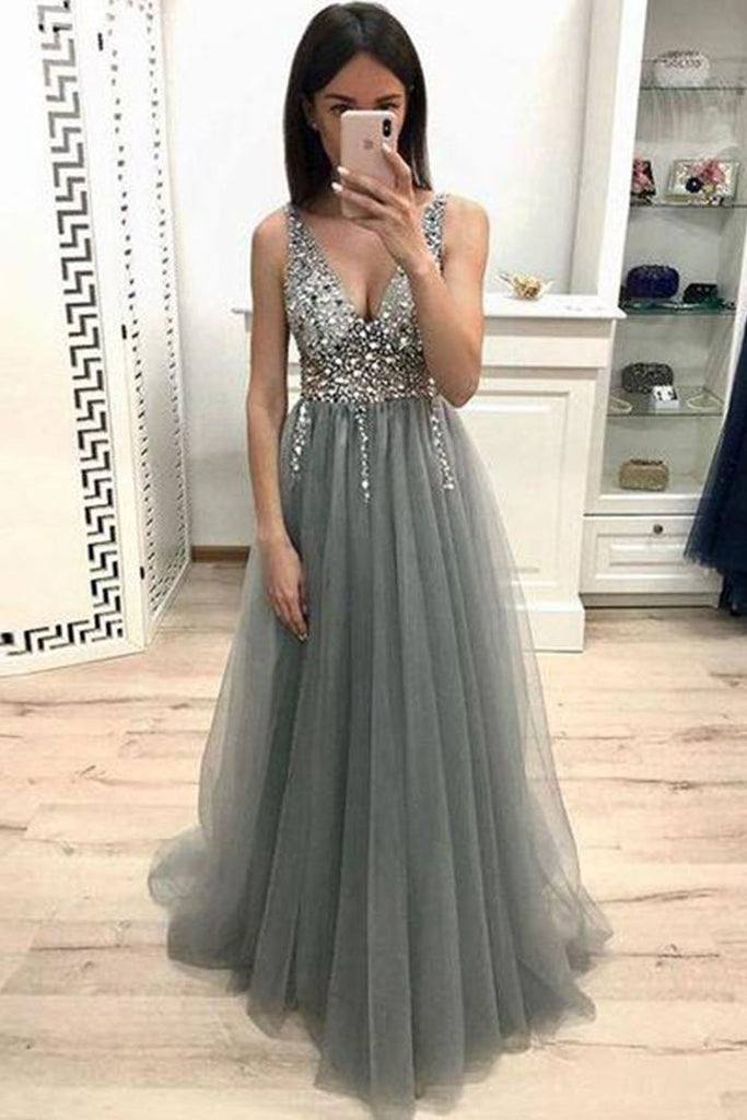 Silver And Gray Long V-neck Sparkly Beading Prom Dresses Women Dresses M905