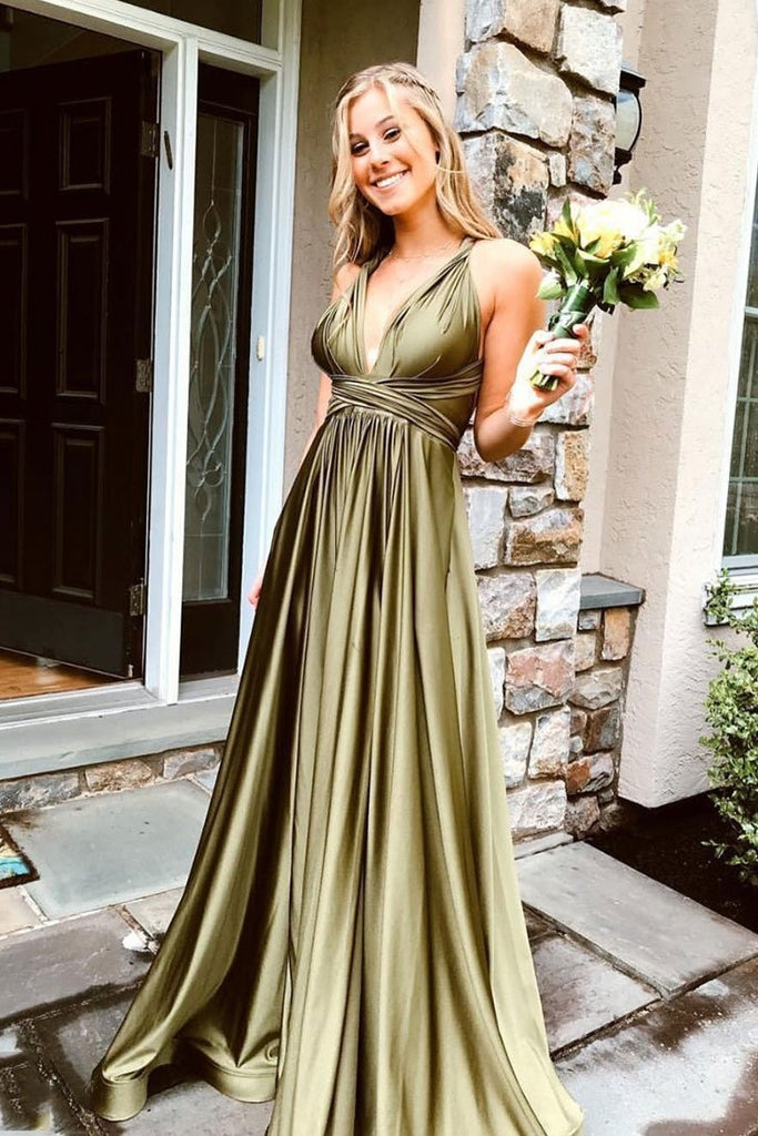 Affordable Simple Cheal Long V-neck Prom Dresses For Teens Party Gowns M912