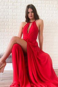 Flowy Red Chiffon Long Open Back Front Split Prom Dresses Fashion Dresses M914