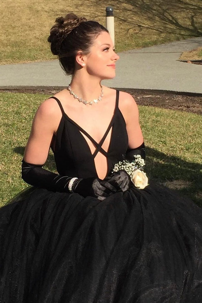 Modest Charming Simple Black Tulle Princess Prom Dresses Party Dresses M916