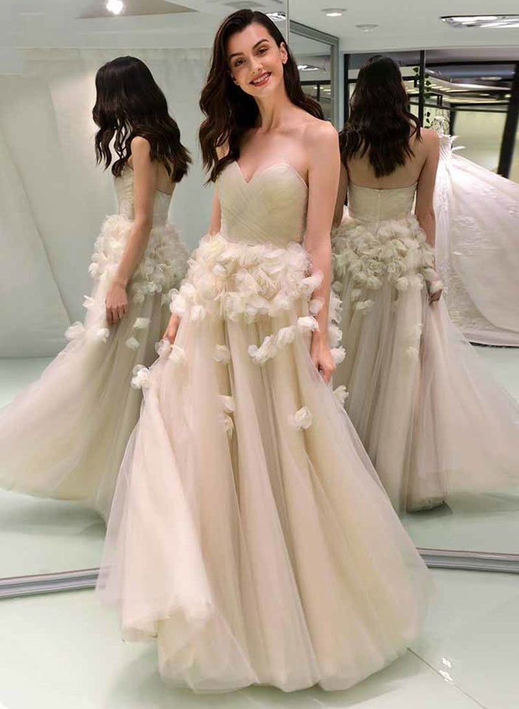 Chic Long Sweetheart Zipper Back Elegant Floor Length Princess Prom Dresses M917