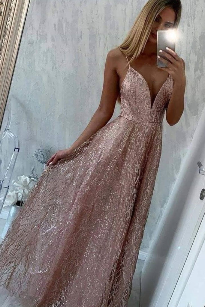 Sparkly Spaghetti Straps Long A-line Prom Dresses Modest Party Dresses For Teens M918