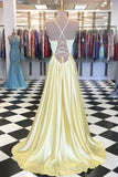 Long A-line Backless Simple Casual Prom Dresses For Teens Cute Dresses M919