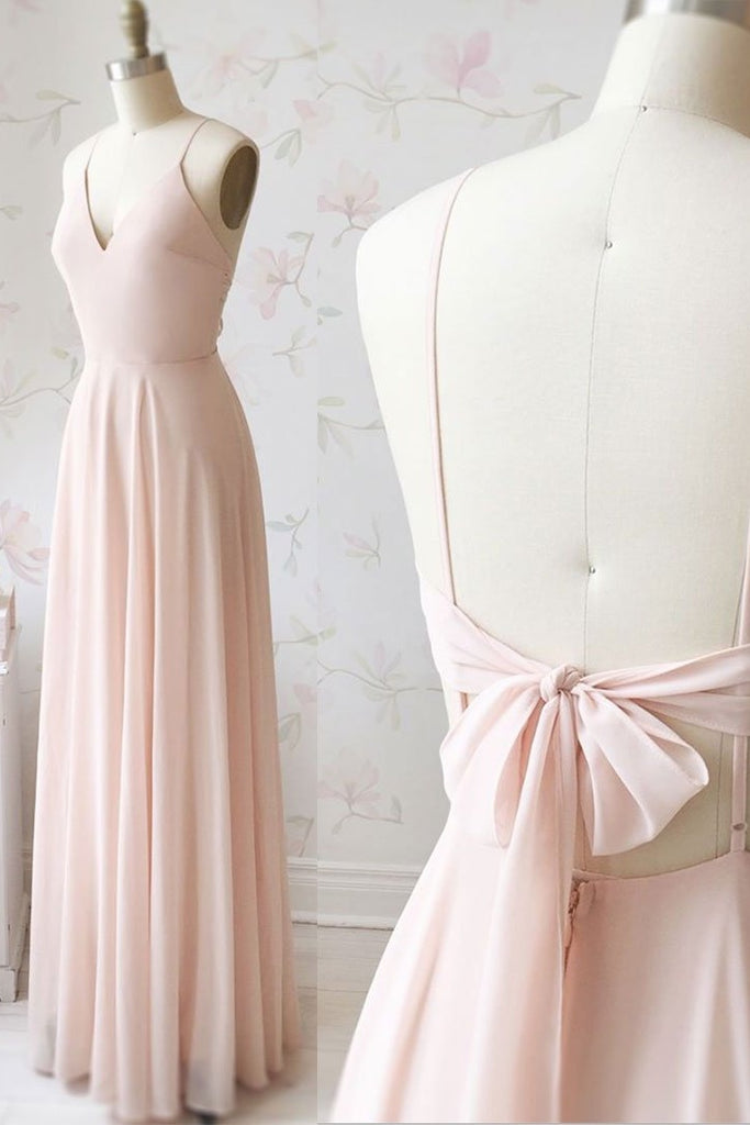 Simple Elegant Floor Length Chiffon Cute Prom Dresses Bridesmaid Dresses M920