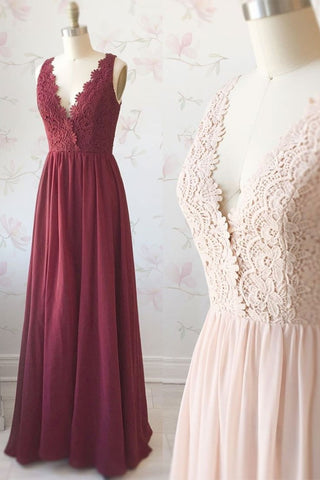 Pretty Burgundy Lace Chiffon Long V-neck Simple Prom Dresses Bridesmaid Dresses M921