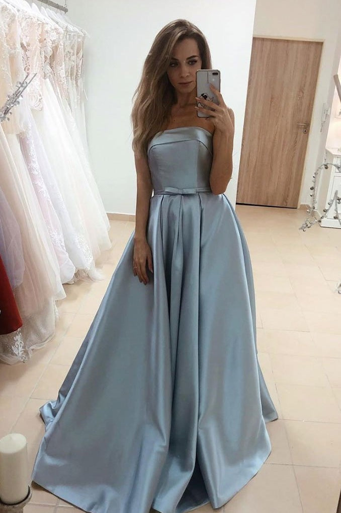 Modest Simple Strapless Long A-line Satin Prom Dresses With Pockets M926