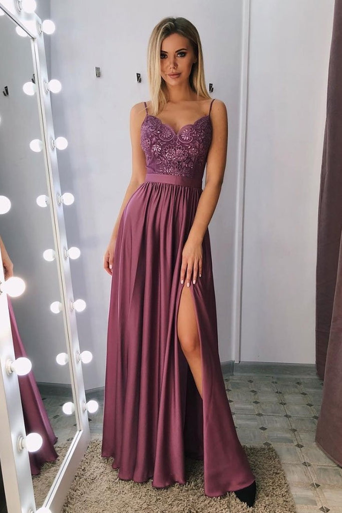 Tight Spaghetti Straps Long A-line Front Split Prom Dresses Women Dresses M927
