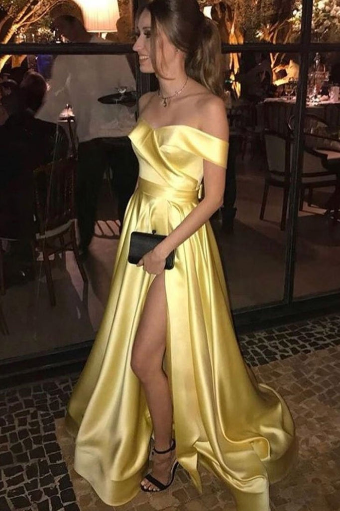 Casual Off The Shoulder Yellow Long A-line Simple Cheap Prom Dresses M930