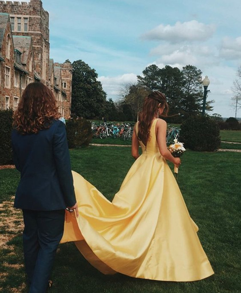 Beautiful Backless Long A-line Yellow Satin Prom Dresses For Teens Cute Dresses M932