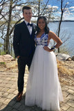 Pretty Blue And White V-neck Long Floor Length Prom Dresses Party Dresses M934