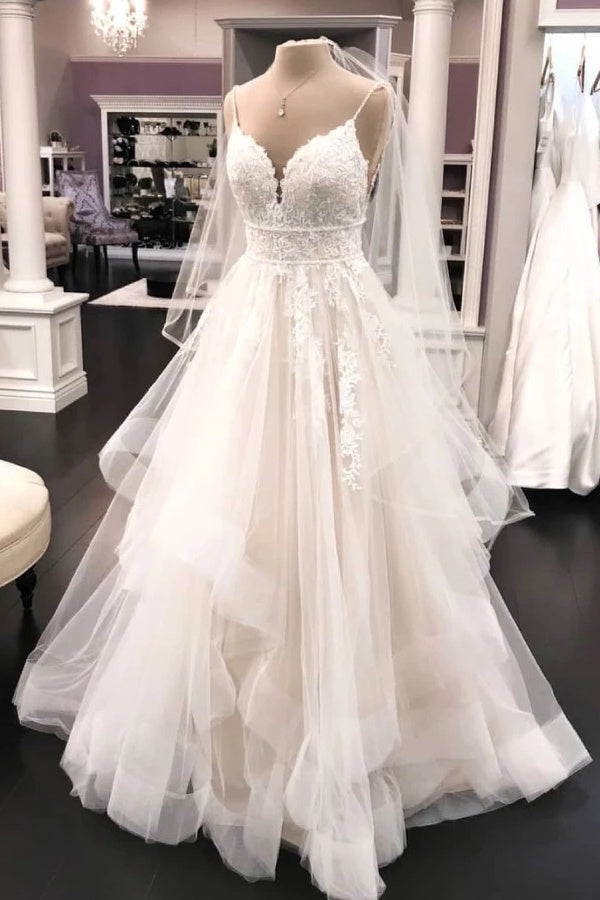 Pretty Ivory Lace Tulle Floor Length Lace Up Elegant Wedding Dresses M941
