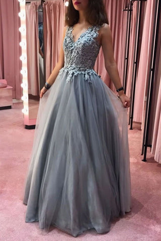 Floor Length A-line V-neck Gray Prom Dresses Charming Long Prom Gowns M943