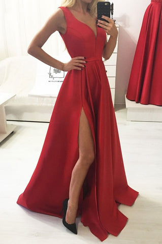 Casual Simple A-line Long V-neck Prom Dresses Pretty Prom Gowns M949