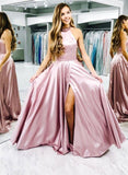 A-line Backless Front Split Halter Long Prom Dresses Classy Party Dresses M950