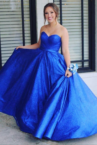 Royal Blue Long Sweetheart Beautiful Lace Up Long Princess Prom Dresses For Girls M951