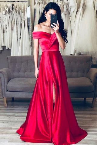 Unique Off The Shoulder Elegant Simple Long Front Split Prom Dresses Evening Dresses M952