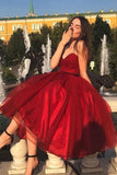 Simple Burgundy Tea Length Sweetheart A-line Prom Dresses Cute Party Dresses M954