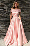 Off The Shoulder Long Pink Modest Prom Dresses For Teens Party Dresses M957