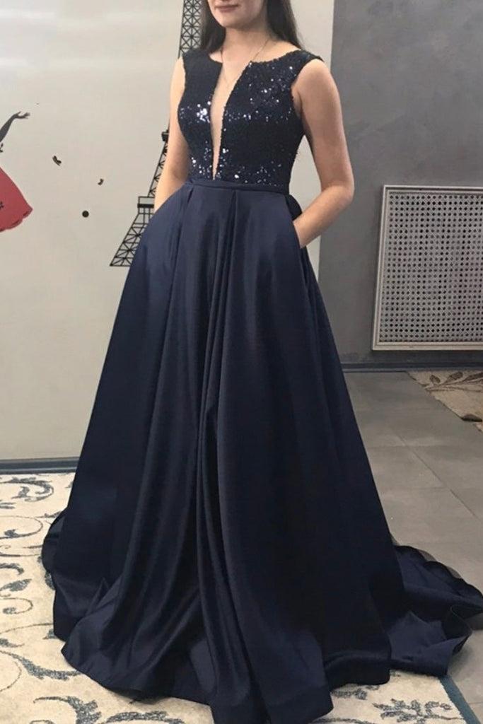 Formal A-line Long Elegant Prom Dresses With Pockets Fashion Dresses M958