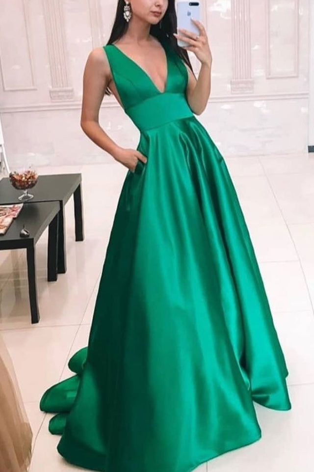 Casual Green A-line Prom Dresses For Women Pretty Long Prom Gowns M960