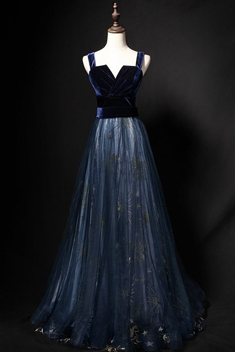 Elegant Long Lace Up Velvet Tulle Prom Dresses Modest Party Gowns M962