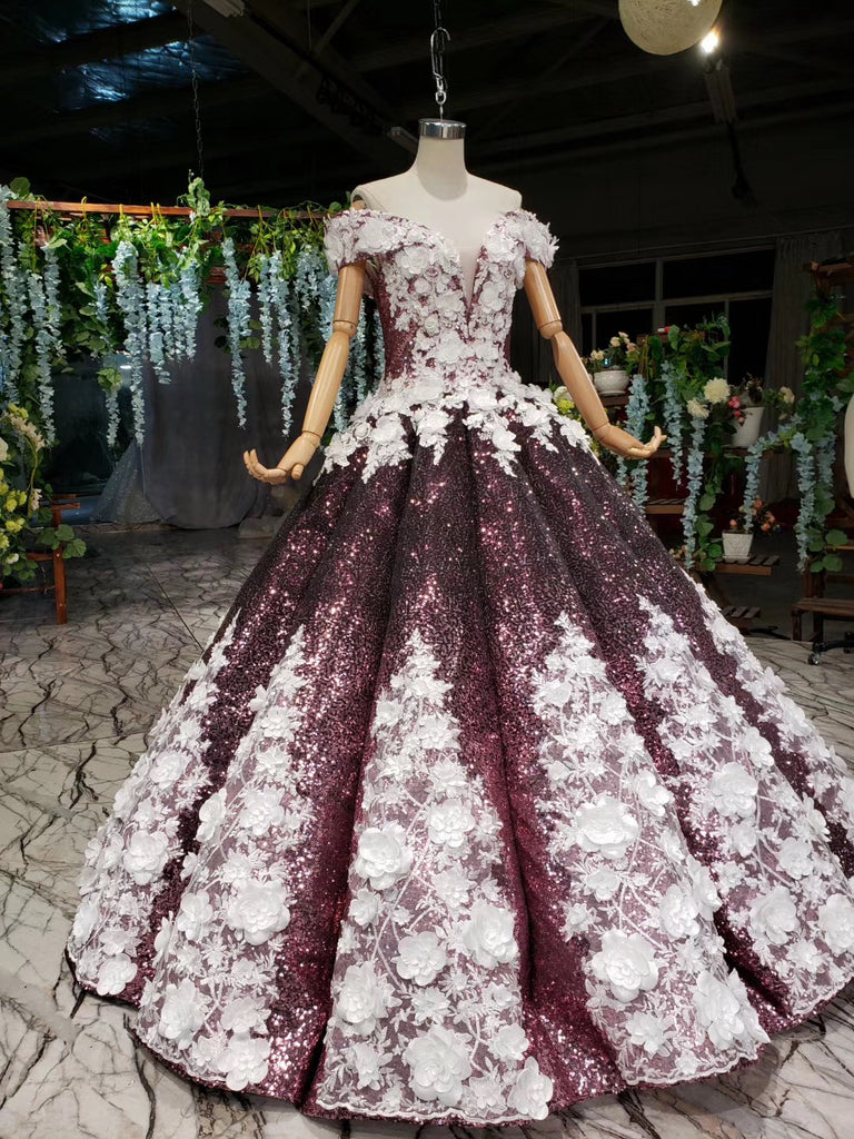 Amazing Unique Off The Shoulder Ball Gown Prom Dresses Sparkly Wedding Dresses M963